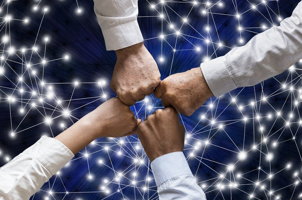 team, hands, network
